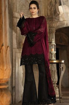 Pakistani designer dress Chiffon by Maria B in dark maroon and black color Model# C 1631 Next Dresses, Party Wear Dresses, Dresses For Work, Weeding Dresses, Dress Work, Pakistani Dresses Online Shopping, Online Dress Shopping, Dress Online, Pakistani Dress Design