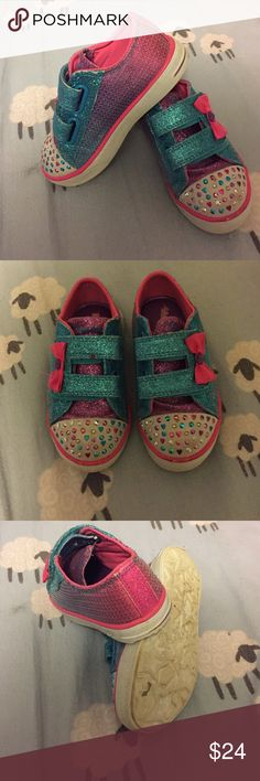 Skechers twinkle toes sequin rainbow Velcro sz 8 Worn 4x then out grew. Very comfortable have memory foam. Lights work perfectly. Easy with Velcro strap. Sequin pink blue and purple. Size 8 Skechers Shoes Sneakers