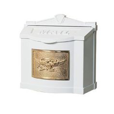 Gaines Mail Boxes WM-1WM-1 WM-1-Eagle Design Door Hardware White with Polished Brass Plaque Wallmount Mailbox Eagle OR Leaf Design by Gaines Mail Boxes. $229.00. Gaines Mail Boxes WM-1 Door Hardware White with Polished Brass Plaque Wallmount Mailbox Eagle OR Leaf Design - Sold with a lockable insert Or No Lock. White with Polished Brass Powder-Coated Aluminum Mailbox Sold with a lockable insert. Or No Lock. White with Polished Brass With Eagle OR Leaf Design Color...