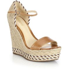 Schutz Theadora Leather Espadrille Wedge Sandals ($105) ❤ liked on Polyvore featuring shoes, sandals, apparel & accessories, tan, leather sandals, espadrille wedge sandals, leather wedge sandals, platform espadrilles and tan platform sandals