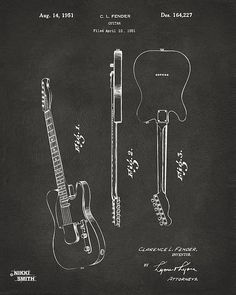 1951 Fender Electric Guitar Patent Artwork - Gray - Nikki Marie Smith on Fine Art America