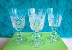 Crystal Aperitif Glasses Set, Vintage Bohemian Crystal Liqueur Glasses, Sherry Glasses, Grappa Glasses, Cordial Glasses, Pinwheel Crystal