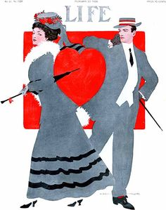 1908 Life Magazine illustrated by Coles Phillips. St. Valentine's Day illustration.