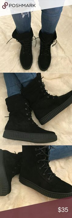 Woman's boots Black suede over the ankle boots. Shoes Combat & Moto Boots
