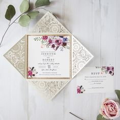 This cream laser cut wrap adds a touch of antique elegance to this invitation.  The deep berry tones of this lush floral pattern are perfect for your vintage style wedding.Invitation Card Dimensions:6.10 x 6.10 in (w x h)Response Card Dimensions:3.937 x 3.937 in (w x h)Reception Card Dimensions:3.937 x 3.937 in (w x h)Thank You Note:3.937 x 3.937 in (w x h)Outer Envelope:6.50 x 6.50 in (w x h)Envelopes for Other Cards:4.33 x 4.33 in (w x h)(not mailable)Please note, reception cards don't ...