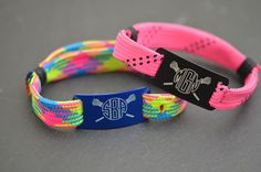 Our Lacrosse Shooter Bracelets make the best girls lacrosse gift for the summer time! Wear them to practice and the beach! The neon colors go great with a tan! #monogram #lacrosse #summer