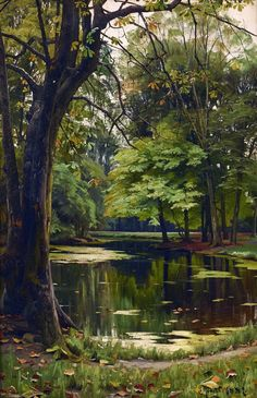 Mork Monsted - Autumn day in the forest; Creation Date: Medium: Oil on canvas; Dimensions: 58 X 40 cm.Peder Mork Monsted - Autumn day in the forest; Creation Date: Medium: Oil on canvas; Dimensions: 58 X 40 cm. Landscape Art, Landscape Paintings, Landscape Photography, Nature Photography, Landscape Planner, Photography Tips, Watercolor Landscape, Terre Nature, Beautiful Places
