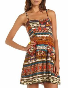 Belted Tribal A-Line Dress