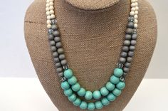 Anthropologie Inspired Turquoise and Grey Statement Necklace by BevinBold, $28.00