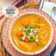 Skinny Buffalo Chicken Soup Recipe Soups with rotisserie chicken, seasoning, cauliflower, chicken stock, chicken broth, water, sliced carrots, celery, onion, butter, hot sauce, green onions, crumbled blue cheese