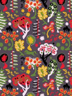 Swedish-inspired Woods pattern by Ella Tjader (via Print Pattern) Tree Patterns, Textile Patterns, Textile Prints, Textile Design, Fabric Design, Print Patterns, Print Design, Surface Pattern Design, Pattern Art