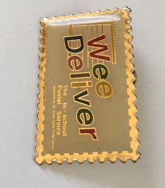 "US Postal Service Pin Finback Gold Stamp USPS 1996 Wee Deliver In School 1.5""x1"""