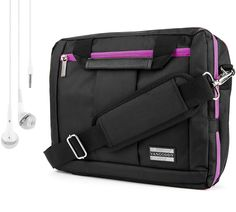 "El Prado Carry-On Bag, Backpack and Briefcase [Purple] For 11 to 13.9"" Laptop Notebook Ultrabook Convertible Computer + HD Earbuds (3.5mm Jack). 3 in 1 Multipurpose Travel Carrying Case 