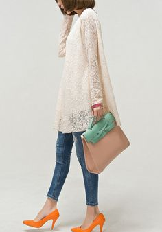 Beige Lace Dress Long Sleeve Dress cotton large di TheMysteryQueen, $27.80