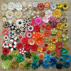 A field of vintage enamel flower pins -- one of my best vintage scores ever!