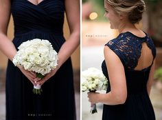 Navy blue bridesmaid dresses Ellie and Sam | Married at Macy's xscape $50