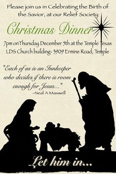Sisters of the Temple Ward Relief Society: December RS Meeting--Let Him In C. Sisters of . Christmas Dinner Invitation, Christmas Service, Christmas Party Themes, Christmas Program, Christmas Ideas, Christmas Holiday, Holiday Ideas, Christmas Sayings, Purple Christmas