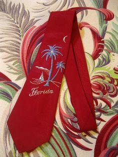 Vintage Florida silk men's tie - 1940s sailboat and palm trees - Island of Miami Florida souvenir tie