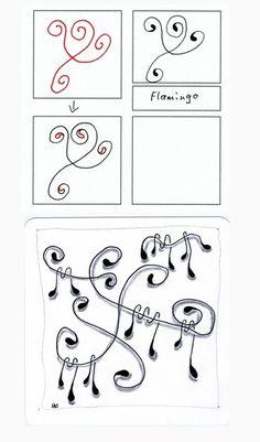 flamingo tangle pattern