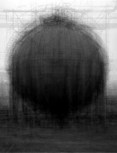 Idris Khan's Every… Bernd And Hilla Becher: Since 1959 Bernd and Hilla Becher have been photographing industrial structures - often presented in groups of similar typologies. Idris Khan's Every… Bernd And Hilla Becher… series appropriates the Bechers' imagery and compiles their collections into single super-images. In these pieces, multiple images are digitally layered and super-imposed giving the effect of an impressionistic drawing or blurred film still.