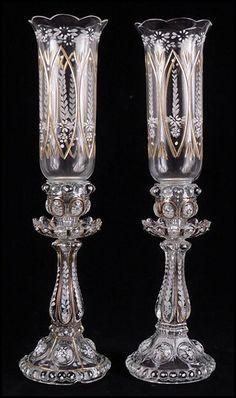 Pair of Glass Gilt and Enamel Hurricane Candlesticks.