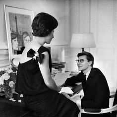 Mathieu Saint Laurent with her son Yves Saint Laurent, Paris 1960