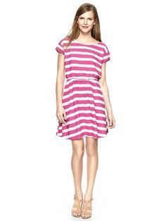 Gap | Printed flare dress, pink stripe xs
