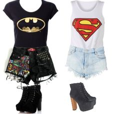 Batman outfit and Superman outfit