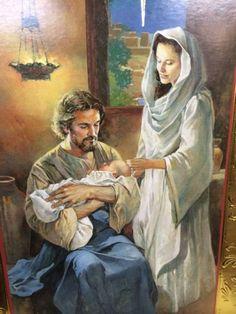 the holy family, Joseph holding Jesus Catholic Art, Catholic Saints, Religious Art, Religious Pictures, Jesus Pictures, Blessed Mother Mary, Blessed Virgin Mary, Jesus Christus, Christian Pictures