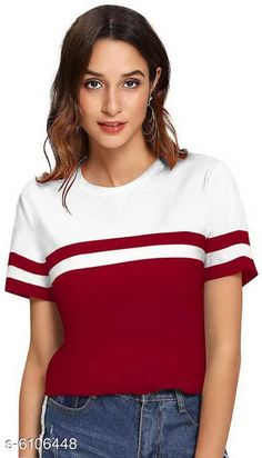 Checkout this latest Tshirts Product Name: *Stylish Ravishing Women Tshirts * Fabric: Cotton Sleeve Length: Short Sleeves Pattern: Colorblocked Multipack: 1 Sizes: S (Bust Size: 40 in, Length Size: 26 in)  M, L, XL Easy Returns Available In Case Of Any Issue   Catalog Rating: ★4 (1408)  Catalog Name: Popster Retro Women Tshirts CatalogID_929007 C79-SC1021 Code: 052-6106448-855