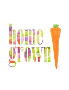 Kitchen Art Farmers Market Local Food Gardening Decor Culinary Gardener Typography Vegetable Painting