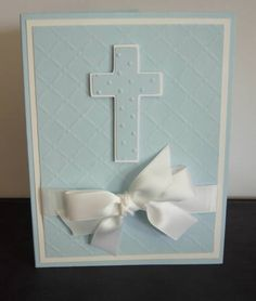 Embossed Baptism by gails - Cards and Paper Crafts at Splitcoaststampers Confirmation Cards, Baptism Cards, Christening Card, Paper Cards, Diy Cards, First Communion Cards, Christian Cards, Beautiful Handmade Cards, Scrapbook Cards