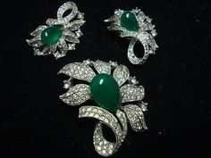 Signed Jomaz Green Drop and Clear Rhinestones Pin Earrings Set | eBay Sold for $ 147