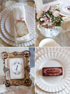 napkin label instead of place card, flowers in teapot, table numbers in frame