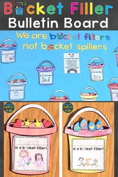 Bucket filler bulletin board and craft plus additional ideas for creating a bucket filling classroom Small Group Activities, Sorting Activities, Educational Activities, Classroom Activities, Classroom Decor, Bucket Filler Book, Bucket Fillers, Bucket Filling Classroom, Bucket Filler Activities