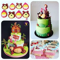 Agora preciso compartilhar outro achado: bolos e fofuras com o tema Masha e o Urso, um dos desenhos ...