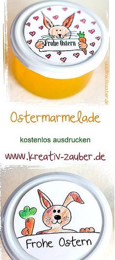 Deko für Oster Marmelade - Marmeladen Etiketten Ostern - Marmeladenetiketten kostenlos ausdrucken - www.kreativ-zauber.de