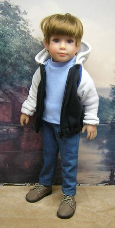"""Black and White Jacket set by BEVBEESE to fit 17.5"""" Kidz'n'Cats boy doll"""
