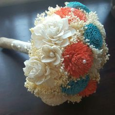 Coral Sola Bouquet.. This version with turquoise-teal instead of mint