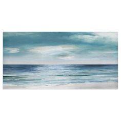 Masterpiece Art Gallery Silver Shore By Sally Swatland Canvas Art Print 24 inch x 48 inch, Blue