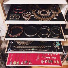 DIY jewelry storage idea using IKEA cutlery trays With these