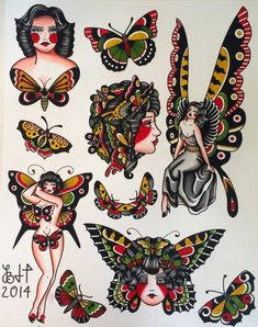 Items similar to Butterfly Ladies Fine Art Print on EtsyYou can find Traditional tattoo flash and more on our website.Items similar to Butterfly Ladies Fine Art Print on Etsy Traditional Tattoo Animals, Traditional Tattoo Drawings, Traditional Butterfly Tattoo, Traditional Tattoo Woman, Traditional Tattoo Old School, Traditional Tattoo Flash, American Traditional Tattoos, Tattoo Tradicional, Modern Tattoos
