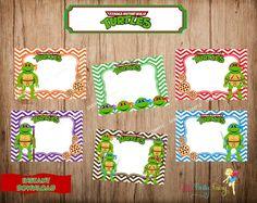 Ninja Turtles Food Labels TMNT Buffet Label Card by CutePartyFairy