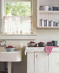 Washing berries in this cottage kitchen! Washing berries in this cottage kitchen! Farm Kitchen Ideas, Rustic Kitchen, Vintage Kitchen, Kitchen Decor, Kitchen Sink, Kitchen Cupboards, Vintage Sink, Open Cabinets, 1920s Kitchen