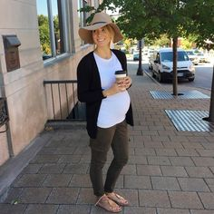 Maternity Outfit for Fall. (fedora, flat sandals, olive skinnies, sweater)