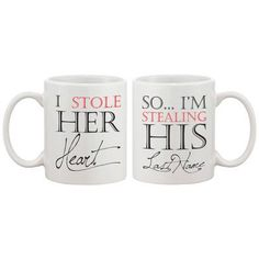 Wedding Poses 2 Piece I Stole Her Heart So I'm Stealing His Last Name Couple Matching 11 oz. Mug Set - You'll love the 2 Piece I Stole Her Heart So I'm Stealing His Last Name Couple Matching 11 oz. Mug Set at Wayfair - Great Deals on all Kitchen Wedding Gifts For Newlyweds, Newlywed Gifts, Engagement Gifts For Him, Perfect Wedding, Dream Wedding, Wedding Day, Wedding Reception, Wedding Mugs, Wedding Stuff