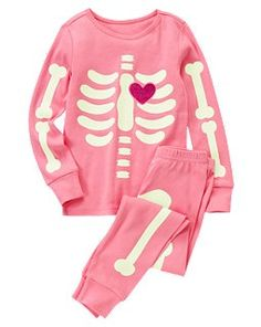 I made this for my daughter out of a black sweat suit, and white felt cut outs... For about 10 dollars total...Skeleton Heart Two-Piece Gymmies™