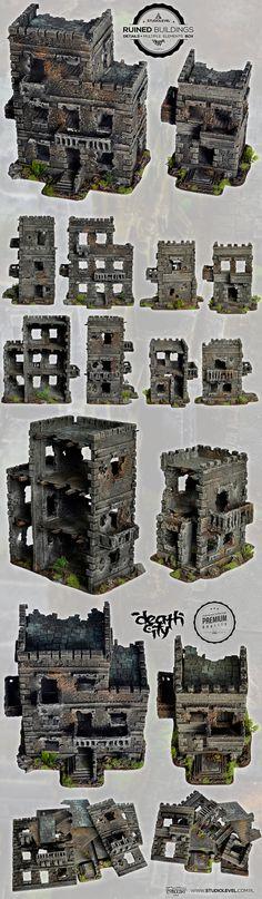 2x RUINED BUILDINGS SET 2 w40k, mordheim scenery terrain