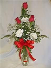 rose bud vase with carnations and greenery - Google Search