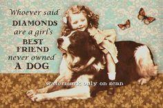 Altered art - Vintage Girl Hugging St. Bernard Dog - small print for sale on Etsy